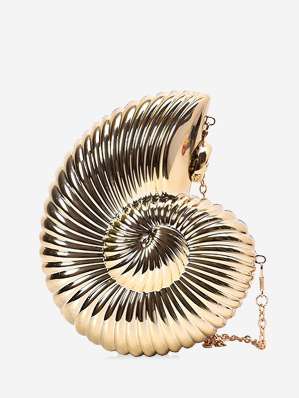 Conch Shaped Crossbody Bag, Gold