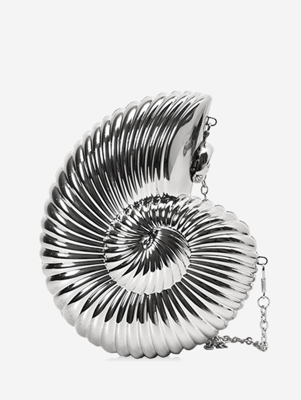 Conch Shaped Crossbody Bag, Silver