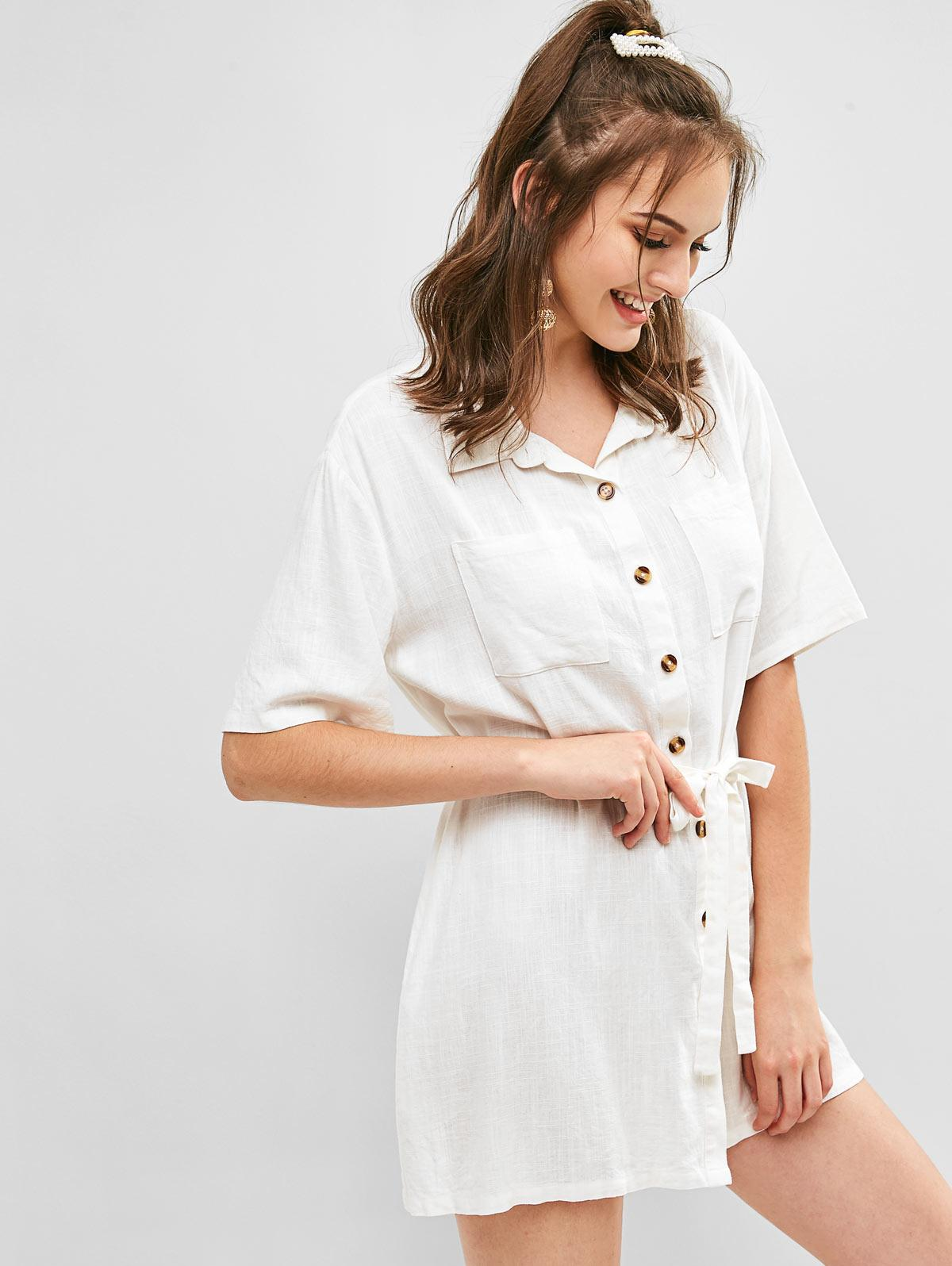 ZAFUL Button Up Belted Plain Pocket Dress, Milk white