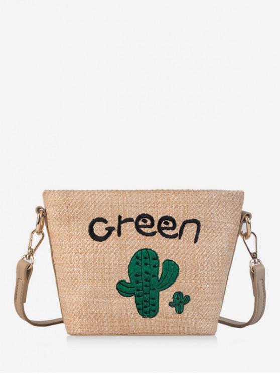 best Embroidery Straw Handbags - KHAKI
