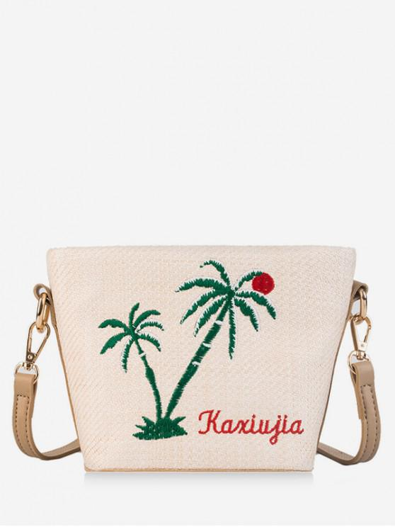 womens Embroidery Straw Handbags - WHITE