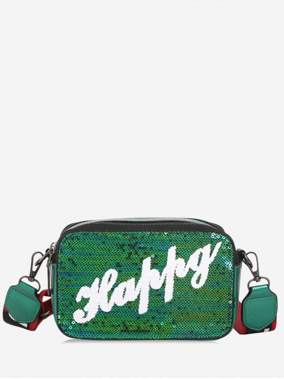 fancy Letter Sequin Wide Strap Crossbody Bag - GREEN