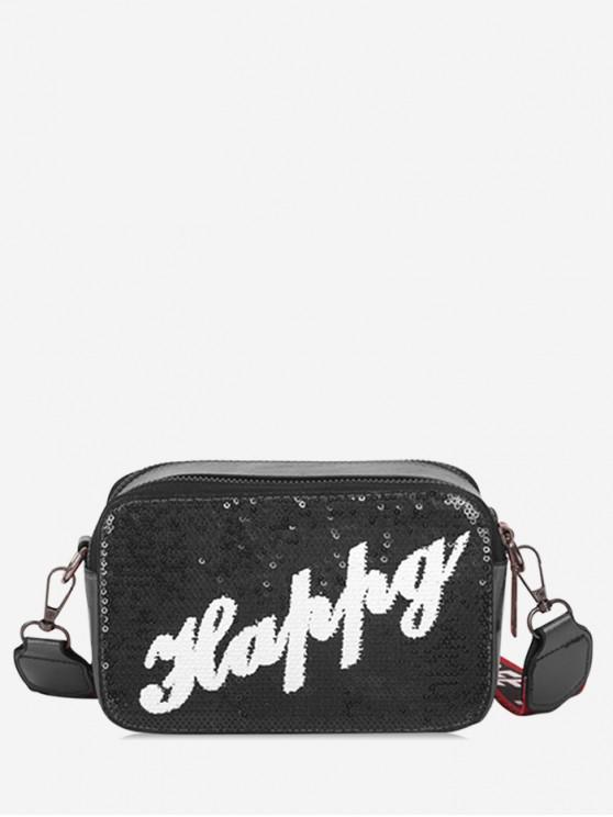 buy Letter Sequin Wide Strap Crossbody Bag - BLACK
