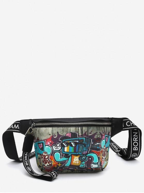 hot Graffiti Pattern PU Leather Crossbody Bag - BLACK