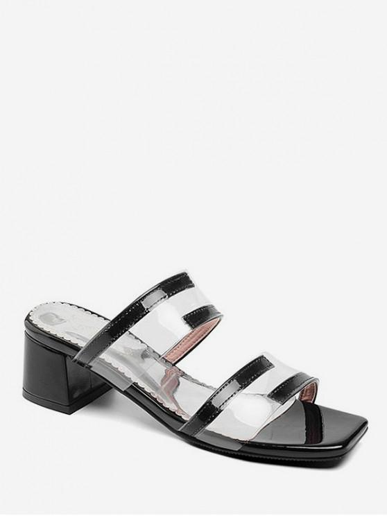 trendy Clear Strap Mid Heel Slides - SILVER EU 38