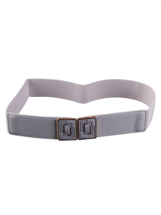 best Rectangle Buckle Elastic Dress Belt - GRAY