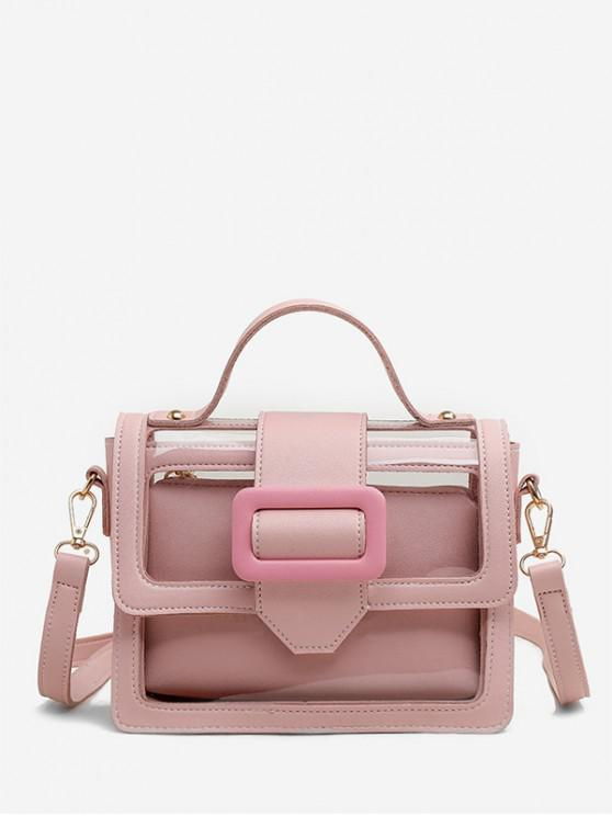 trendy Summer Transparent Buckle Design Square Bag Set - PINK