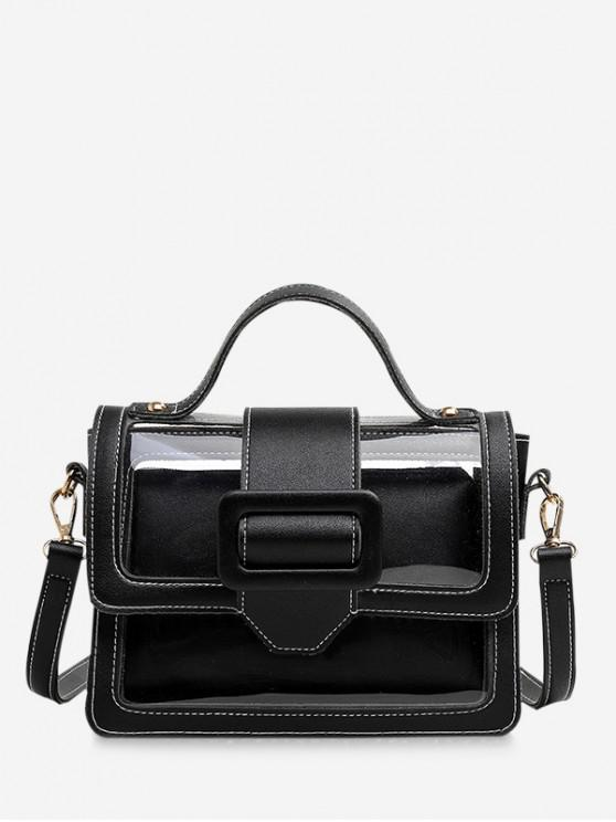 affordable Summer Transparent Buckle Design Square Bag Set - BLACK