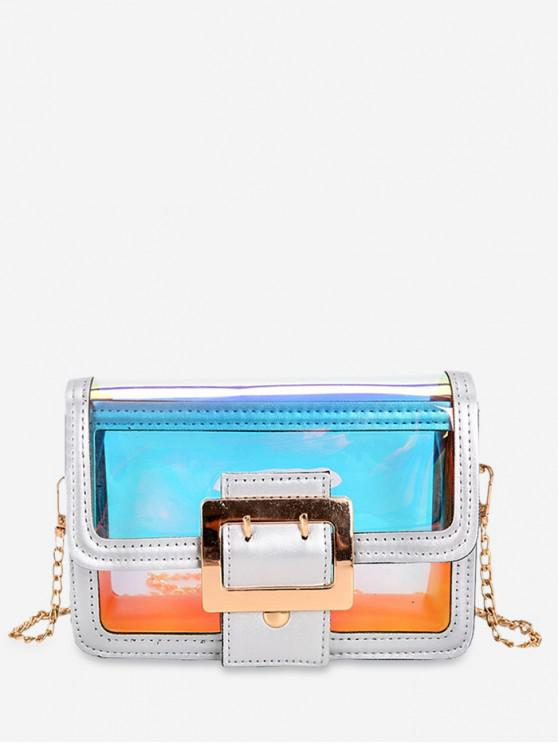 affordable Transparent Holographic Square Crossbody Bag - MULTI