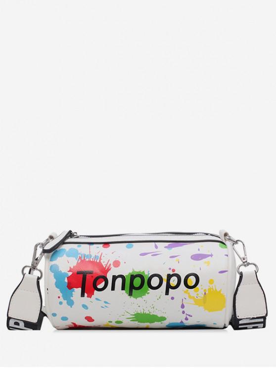 womens Splatter Paint Cylinder Bag - WHITE