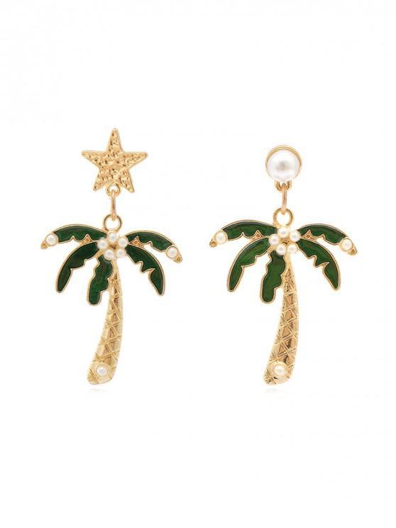 women's Coconut Tree Star Drop Earrings - GOLD