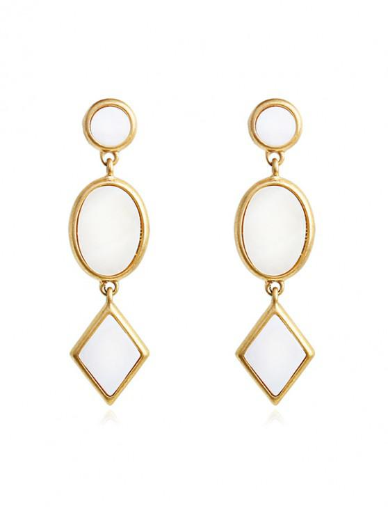 lady Shell Geometric Long Drop Earrings - NATURAL WHITE