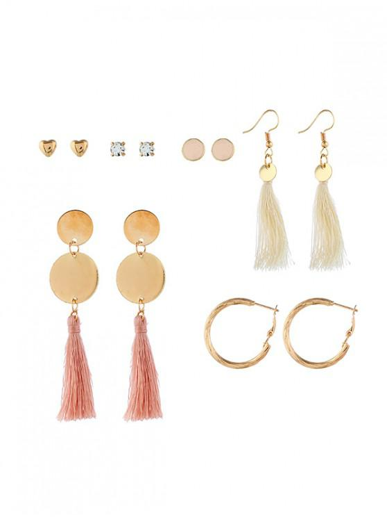 hot 6 Piece Tassels Drop Stud Earrings Set - MULTI-A