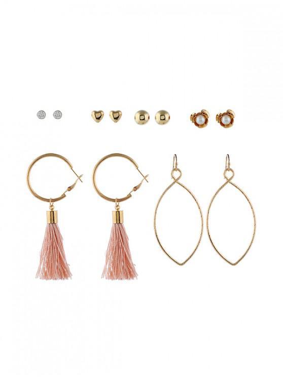 outfit 6 Piece Tassels Drop Stud Earrings Set - MULTI-C