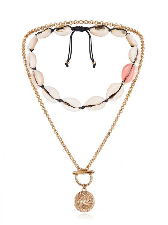 shop Asymmetrical Shell Coin Layered Necklace - PINK ROSE