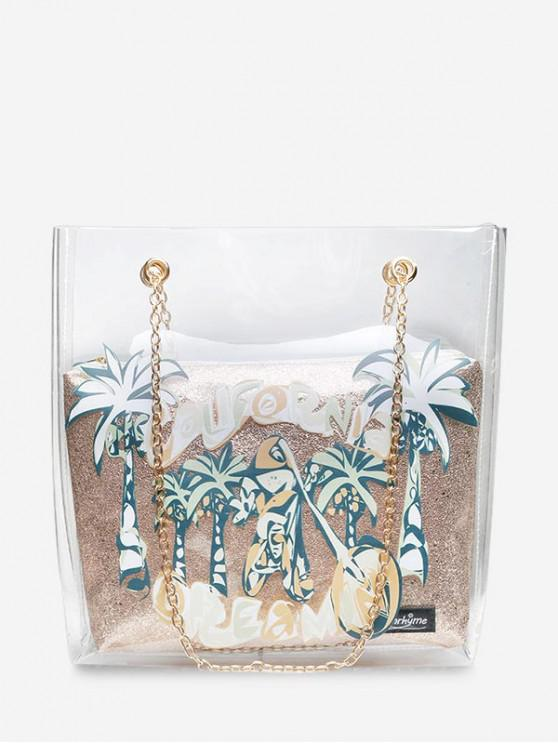 shops Coconut Tree Transparent Chain Shoulder Bag - GOLD