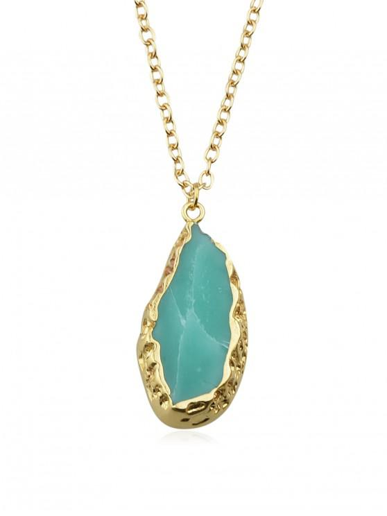 trendy Green Natural Stone Pendant Chain Necklace - MACAW BLUE GREEN