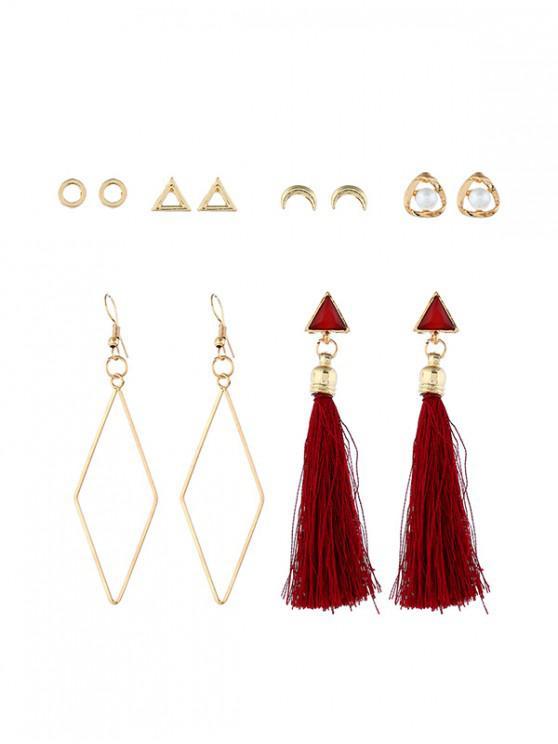affordable 6 Piece Tassels Drop Stud Earrings Set - MULTI-B