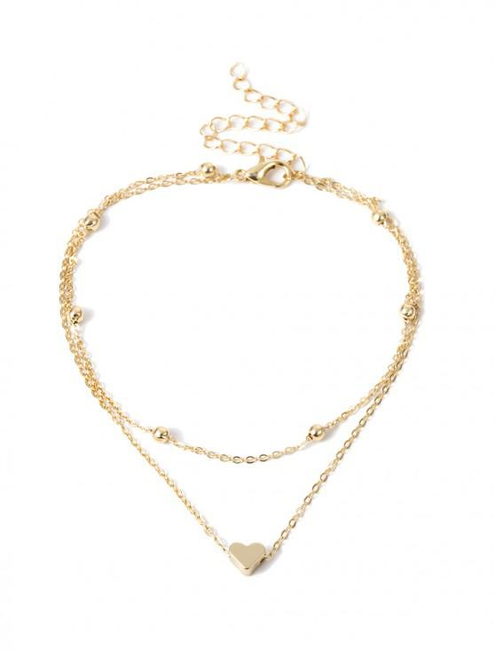 buy Simple Heart Double-layer Beach Anklet - GOLD