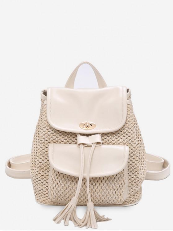 womens Drawstring Tassel Small Backpack - WHITE
