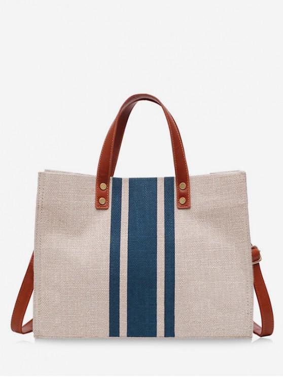 women Striped Square Canvas Handbag - BLUE