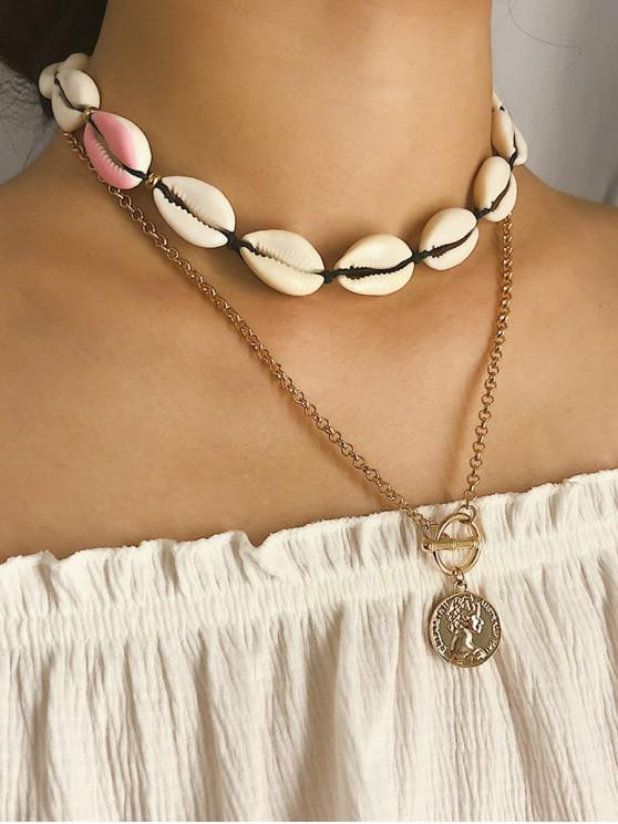 ladies Asymmetrical Shell Coin Layered Necklace - PINK