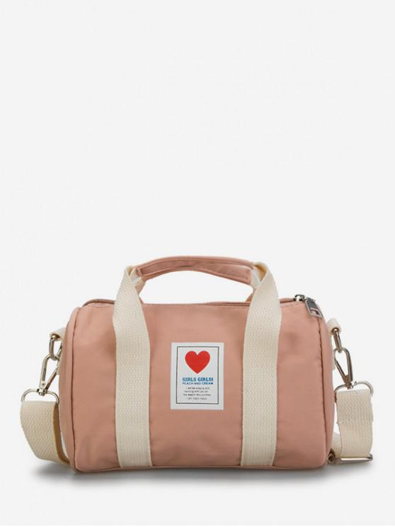 lady Heart Print Canvas Cylinder Bag - PINK