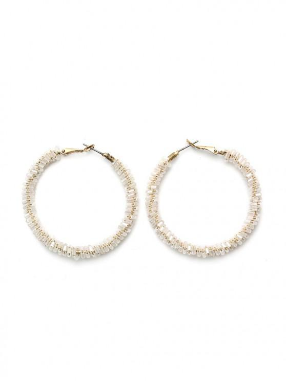 best Beaded Faux Crystal Hoop Earrings - WHITE