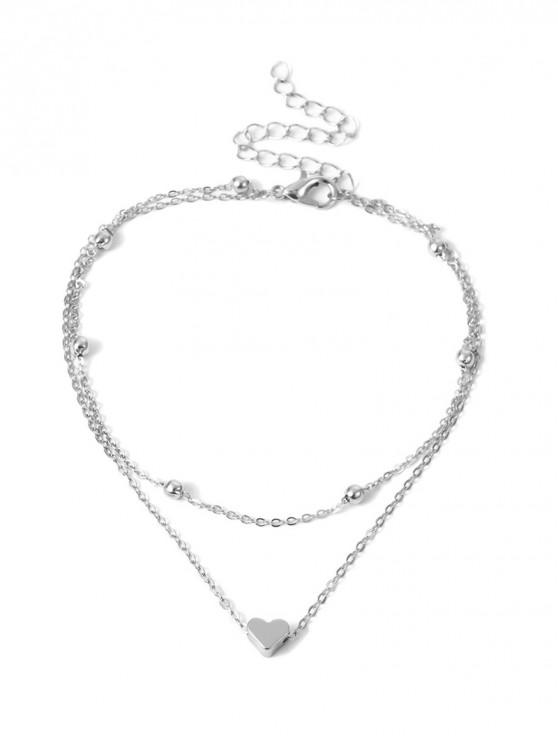 new Simple Heart Double-layer Beach Anklet - SILVER