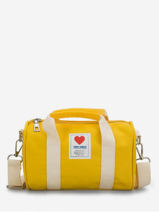 hot Heart Print Canvas Cylinder Bag - YELLOW