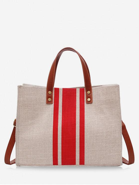 outfit Striped Square Canvas Handbag - RED