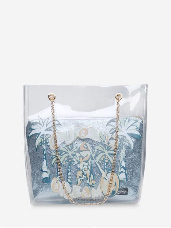 shop Coconut Tree Transparent Chain Shoulder Bag - SILVER