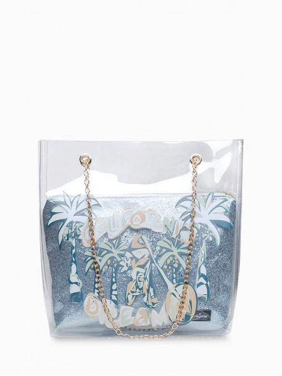shops Coconut Tree Transparent Chain Shoulder Bag - LIGHT BLUE