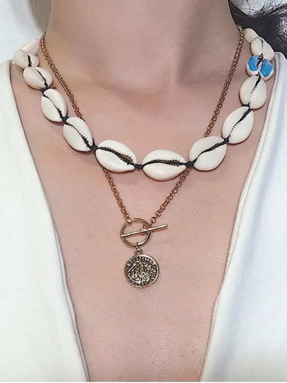latest Asymmetrical Shell Coin Layered Necklace - BLUE