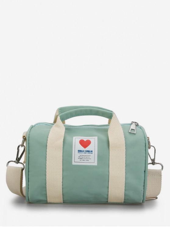 trendy Heart Print Canvas Cylinder Bag - GREEN