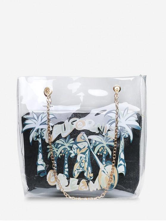 fashion Coconut Tree Transparent Chain Shoulder Bag - BLACK