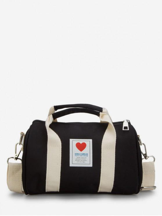 chic Heart Print Canvas Cylinder Bag - BLACK