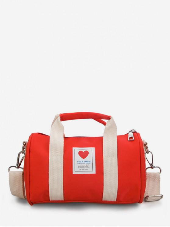 fancy Heart Print Canvas Cylinder Bag - RED