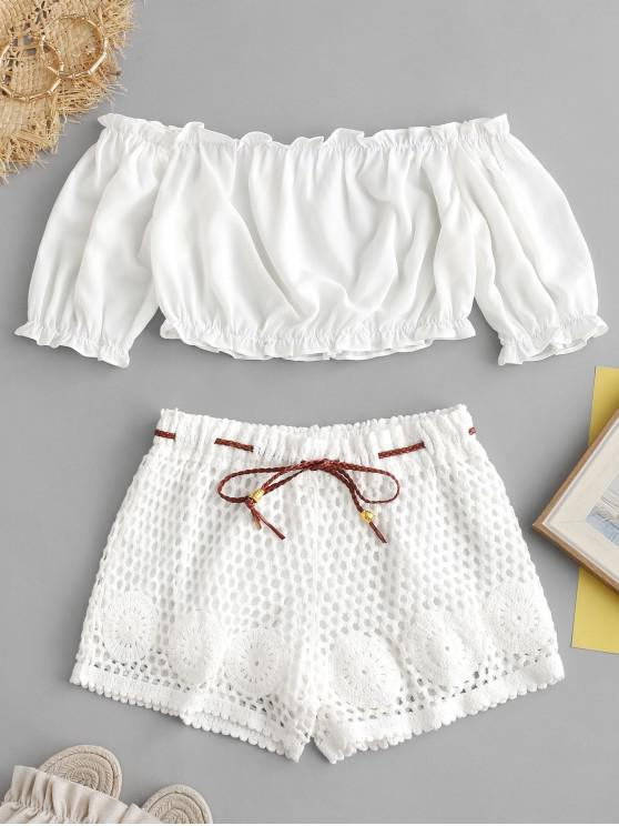 women's ZAFUL Off Shoulder Top and Crochet Shorts Set - WHITE ONE SIZE