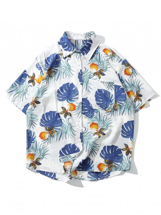 lady Floral Leaf Pattern Short Sleeves Shirt - WHITE M