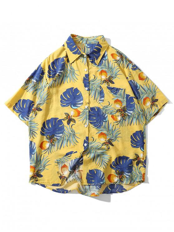 hot Floral Leaf Pattern Short Sleeves Shirt - YELLOW M