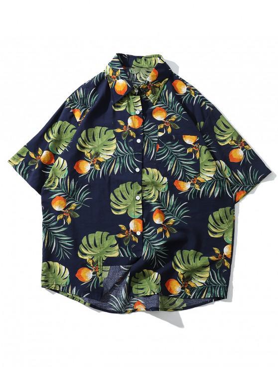 shops Floral Leaf Pattern Short Sleeves Shirt - CADETBLUE M