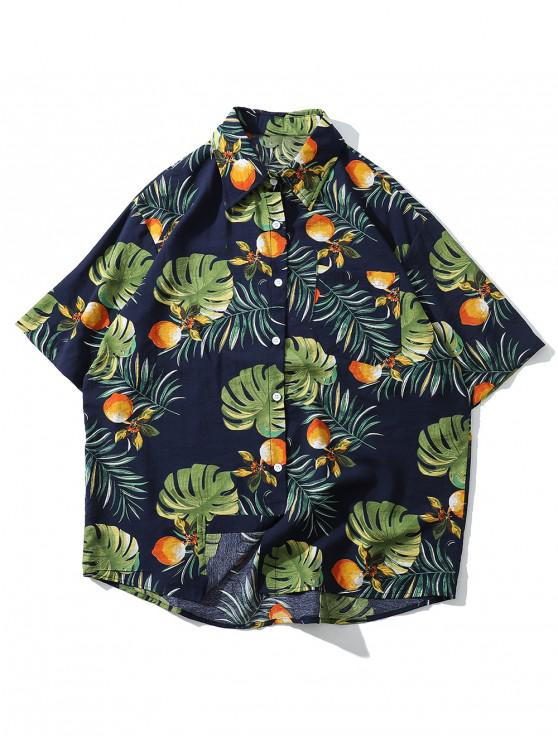 Floral Leaf Pattern Kurzarm-Shirt - Kadettenblau XL