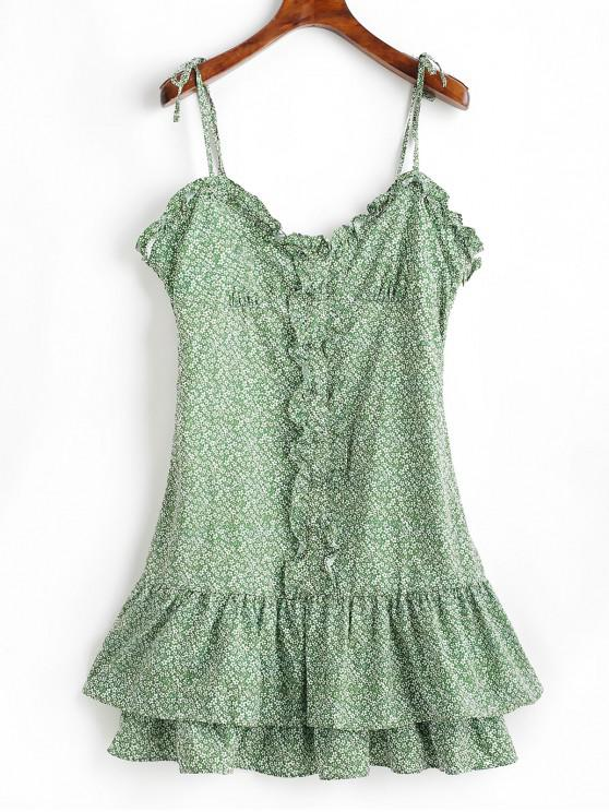 lady Floral Buttoned Ruffles Cami Dress - GREEN M