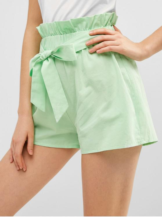 new ZAFUL Casual Paperbag Waist Belted Shorts - AQUAMARINE L