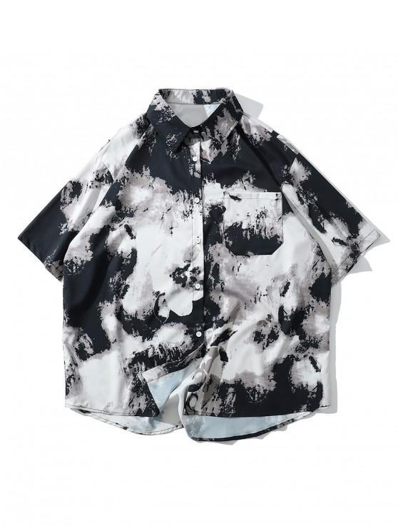 ladies Leisure Style Print Short Sleeves Shirt - WHITE M