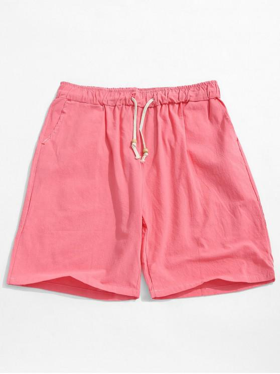 online Elastic Solid Color Drawstring Shorts - WATERMELON PINK S