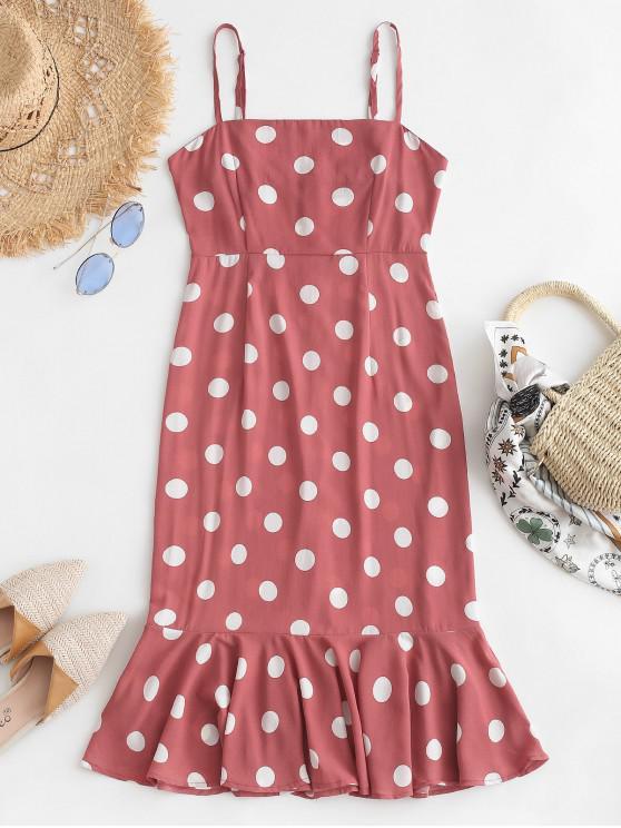 women's Polka Dot Ruffles Cami Dress - KHAKI ROSE M