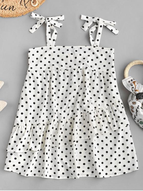 lady Tied Straps Polka Dot Layered Mini Dress - WHITE M