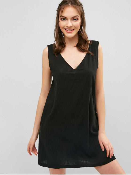 fashion Seam Pockets Sleeveless Casual Dress - BLACK S